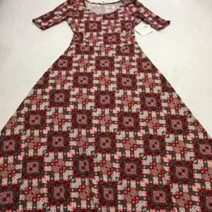 Lularoe Red Gray Patchwork Ana Maxi Dress